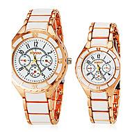 cheap Couple Watches-Men's Women's Couple's Quartz Wrist Watch Hot Sale Alloy Band Charm Dress Watch Fashion White