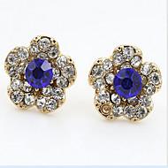 abordables Joyería floral-Cristal Pendientes cortos - Zirconia Cúbica, Brillante Flor Trabajo, Casual, Moda Azul Real Para