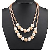 お買い得  -女性用 レイヤードネックレス / パールネックレス  -  真珠 ボール型 欧風, ダブルレイヤー, ファッション スクリーンカラー ネックレス 用途 パーティー, 誕生日, 贈り物