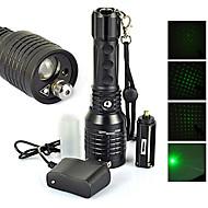 4 LED Lommelygter Laser LED 1200 lm 4.0 Modus Cree XM-L T6 Nedslags Resistent Oppladbar Vanntett Lommelykt Taktisk Nødsituasjon Zoombare