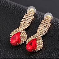 preiswerte -Damen Tropfen-Ohrringe Luxus-Schmuck Synthetische Edelsteine Kubikzirkonia Diamantimitate Aleación Tropfen Schmuck Für