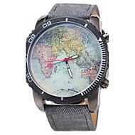 Χαμηλού Κόστους Επώνυμα ρολόγια-JUBAOLI Αντρικά Ρολόι Καρπού Χαλαζίας Καθημερινό Ρολόι Δέρμα Μπάντα Παγκόσμιος Χάρτης Pattern Μαύρο Μπλε Μαύρο Σκούρο μπλε Μπλε Απαλό