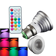 B22 LED szpotlámpák MR16 1 led Nagyteljesítményű LED Tompítható Távvezérlésű Dekoratív RGB 300lm RGBK AC 100-240V