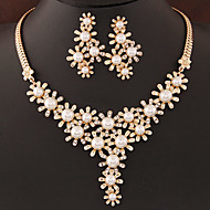 cheap Floral Jewelry-Women's Pearl Jewelry Set - Pearl, Imitation Pearl, Rhinestone Flower European, Fashion Include Silver / Golden For Wedding Party Birthday / Imitation Diamond / Earrings / Necklace