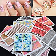 billige Negle-stickers-50 Vandoverførings klistermærke 3D Nail Stickers Blomst Abstrakt Mode Daglig Høj kvalitet