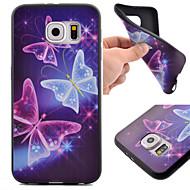 For Samsung Galaxy S7 Edge Mønster Etui Bagcover Etui Sommerfugl TPU Samsung S7 Active / S7 plus / S7 edge / S7 / S6 edge / S6