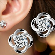 cheap Jewelry & Watches-Women's Stud Earrings - Sterling Silver, Silver Flower Simple Style, Birthstones, Bridal For Wedding Party Daily