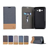 Недорогие Чехлы и кейсы для Galaxy Core Prime-Кейс для Назначение SSamsung Galaxy Кейс для  Samsung Galaxy Бумажник для карт со стендом Флип Чехол Полосы / волосы Мягкий Кожа PU для
