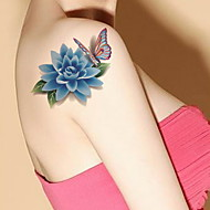 1 - 22*15cm - Πολύχρωμο - Rose Peony Lotus - BR - Σειρά Κοσμημάτων / Σειρά Λουλουδιών / Σειρά Τοτέμ / Άλλα - Αυτοκόλλητα Τατουάζ -Non