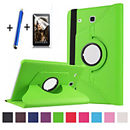 Para Com Suporte / Flip / Rotação 360° Capinha Corpo Inteiro Capinha Cor Única Rígida Couro PU Samsung Tab E 9.6
