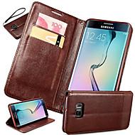 Varten Samsung Galaxy S7 Edge Korttikotelo / Tuella / Flip Etui Kokonaan peittävä Etui Yksivärinen Tekonahka SamsungS7 edge plus / S7