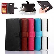 Недорогие Чехлы и кейсы для Galaxy S7-Для Samsung Galaxy S7 Edge Кошелек / Бумажник для карт / со стендом / Флип Кейс для Чехол Кейс для Один цвет Искусственная кожа SamsungS7