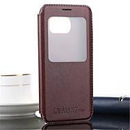 Недорогие Чехлы и кейсы для Galaxy S7 Edge-Для Samsung Galaxy S7 Edge со стендом / с окошком / Флип / Рельефный Кейс для Чехол Кейс для Один цвет Искусственная кожа SamsungS7 edge