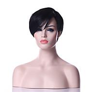 halpa Synteettiset peruukit-Naisten Synteettiset peruukit Suojuksettomat Lyhyt Suora Musta Musta puku Peruukit
