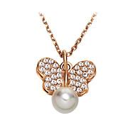 Муж. Жен. Женский Ожерелья с подвесками Жемчужные ожерелья Кристалл В форме животных Бабочка Жемчуг Хрусталь Искусственный жемчуг