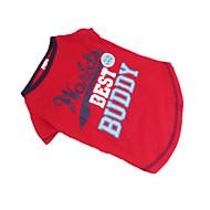 お買い得  -犬 Tシャツ 犬用ウェア 文字&番号 ブルー とレッド コットン コスチューム ペット用 夏