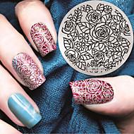 2016 padrão mais recente versão fashion aumentou unha arte flor carimbar placas de molde da imagem