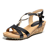 Women's Shoes Leather Summer Wedge Heel For Casual Black