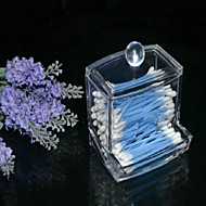 új design átlátszó akril vattacsomót box Q-Tip tároló tartó kozmetikai smink szerszám nők tároló doboz tetővel