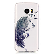 billige Galaxy S5 Etuier-Etui Til Samsung Galaxy Samsung Galaxy S7 Edge Transparent Mønster Bagcover Fjer Blødt TPU for S7 edge S7 S6 edge S6 S5