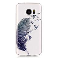 Недорогие Чехлы и кейсы для Galaxy S7-Кейс для Назначение SSamsung Galaxy Samsung Galaxy S7 Edge Прозрачный С узором Кейс на заднюю панель  Перья Мягкий ТПУ для S7 edge S7 S6