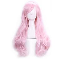 Mulher Perucas sintéticas Longo Encaracolado Rosa claro Parte lateral Com Franjas Peruca Lolita Peruca de Halloween Peruca de carnaval