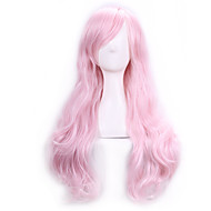 abordables Maquillaje y manicura-Pelucas sintéticas / Pelucas de Broma Rizado Rosa Con flequillo Pelo sintético Parte lateral Rosa Peluca Mujer Larga Sin Tapa Rosa