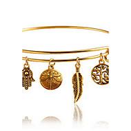 Недорогие Украшения в цветочном стиле-Жен. Браслет цельное кольцо - В форме листа Богемные, Мода, Богемный Браслеты Золотой Назначение Повседневные
