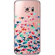 Недорогие Чехлы и кейсы для Galaxy S7-Кейс для Назначение SSamsung Galaxy Samsung Galaxy S7 Edge Прозрачный С узором Кейс на заднюю панель С сердцем Мягкий ТПУ для S7 edge S7