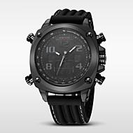 Недорогие Фирменные часы-WEIDE Муж. Спортивные часы Будильник / Календарь / Защита от влаги силиконовый Группа Роскошь Черный / Нержавеющая сталь / С двумя часовыми поясами / Хронометр