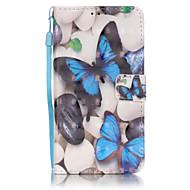 Для Кейс для  Samsung Galaxy Бумажник для карт / Кошелек / со стендом / Флип Кейс для Чехол Кейс для Бабочка Мягкий Искусственная кожа