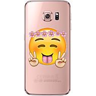 Недорогие Чехлы и кейсы для Galaxy S7-Кейс для Назначение SSamsung Galaxy Samsung Galaxy S7 Edge Прозрачный С узором Кейс на заднюю панель Мультипликация Мягкий ТПУ для S7