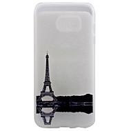 Недорогие Чехлы и кейсы для Galaxy S7 Edge-Кейс для Назначение SSamsung Galaxy Samsung Galaxy S7 Edge Прозрачный С узором Кейс на заднюю панель Эйфелева башня Мягкий ТПУ для S7