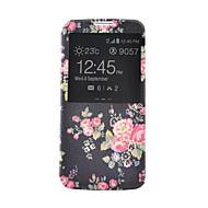 For Samsung Galaxy etui Kortholder Pung Med stativ Med vindue Flip Etui Heldækkende Etui Blomst Kunstlæder for SamsungS6 S5 Mini S5 S4