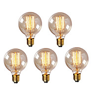 abordables Bombillas Incandescentes-HRY 5pcs 40W E26 / E27 G95 Blanco Cálido 2300k Retro Regulable Decorativa Bombilla incandescente Vintage Edison 220-240V