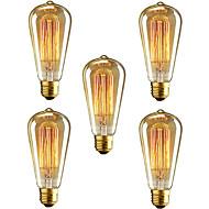 5 stk st64 e27 40w glødende vintage edison pære til restaurant club kaffebarer lys (220-240v)