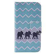 Til Samsung Galaxy etui Etuier Kortholder Pung Med stativ Flip Heldækkende Etui Elefant Hårdt Kunstlæder for Samsung J3 J3 Pro