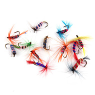 tanie Akcesoria wędkarskie-12 szt Návnady Muchy Miękka przynęta Pokryte piórami Stal niestopowa Sea Fishing Fly Fishing Casting Bait General Fishing Fishing Lure