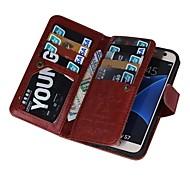 tanie Etui na telefony-Na Samsung Galaxy S7 Edge Etui na karty / Portfel / Flip / Magnetyczne Kılıf Futerał Kılıf Jeden kolor Skóra PU SamsungS7 edge plus / S7