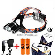 お買い得  フラッシュライト/ランタン/ライト-U'King ZQ-X823 ヘッドランプ LED 4500 lm 4.0 バッテリー&チャージャー付き 小型 キャンプ / ハイキング / ケイビング