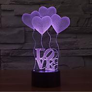 abordables Nouveautés Lampes LED-Amour tactile gradation 3d led nuit lumière 7colorful décoration atmosphère lampe nouveauté éclairage lumière