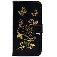 Для Кейс для  Samsung Galaxy Бумажник для карт / С узором Кейс для Чехол Кейс для Цветы Твердый Искусственная кожа SamsungJ5 (2016) / J5