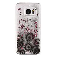 Недорогие Чехлы и кейсы для Galaxy S7 Edge-Кейс для Назначение SSamsung Galaxy Samsung Galaxy S7 Edge Движущаяся жидкость Прозрачный С узором Кейс на заднюю панель дерево Твердый ПК