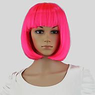 halpa -Synteettiset peruukit Suora Bob-leikkaus Tiheys Suojuksettomat Naisten Vaaleanpunainen Carnival Peruukki Halloween Peruukki capless