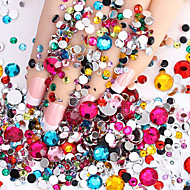2000pcs Nail Flashing Flat  Flat Color Diamond Drill DIY Nail Polish Wedding Accessories