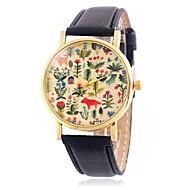 Недорогие Фирменные часы-CAGARNY Жен. Наручные часы Повседневные часы / Cool / / Кожа Группа Цветы / Листья / Винтаж Черный / Красный / Коричневый