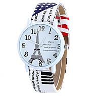 Dames Modieus horloge Kwarts Digitaal Maanfase PU Band Vintage Snoep Eiffeltoren Bedeltjes Cool Vrijetijdsschoenen Teksthorloge Zwart Wit