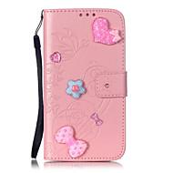 Для Кейс для  Samsung Galaxy Кошелек / Бумажник для карт / Стразы / со стендом / Флип / Рельефный / С узором Кейс для Чехол Кейс для