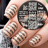 pasgeboren vrij bp76 alfabet thema nail art stempelen template beeldplaat