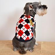 billige Kæledyr Udstyr-Kat Hund T-shirt Hundetøj Afslappet/Hverdag Mode Plæd / Tern Grå Gul Rød Kostume For kæledyr